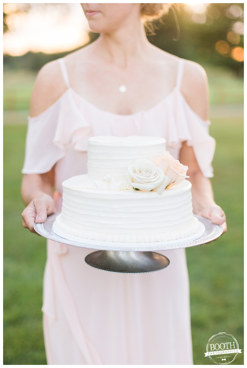 2 tier wedding cake at an outdoor Wisconsin wedding reception