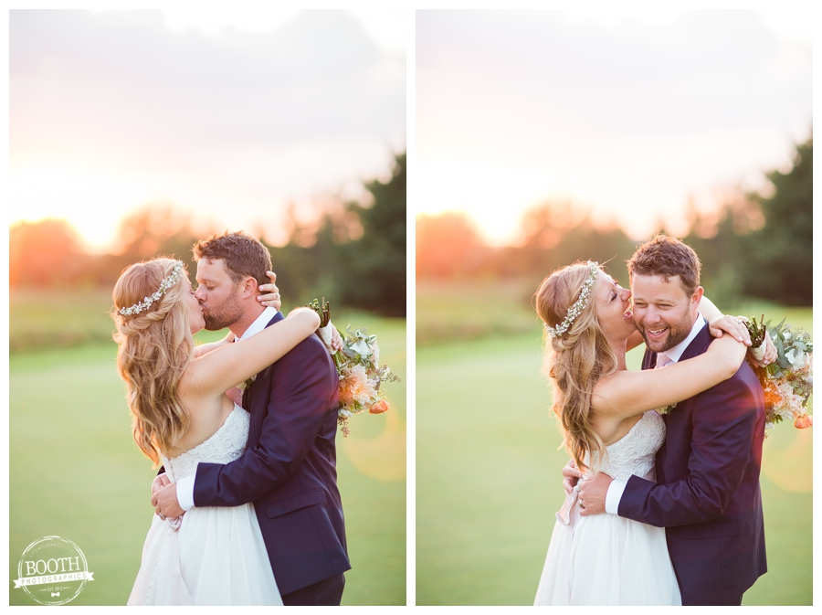 couple having fun at sunset at their outdoor Wisconsin wedding