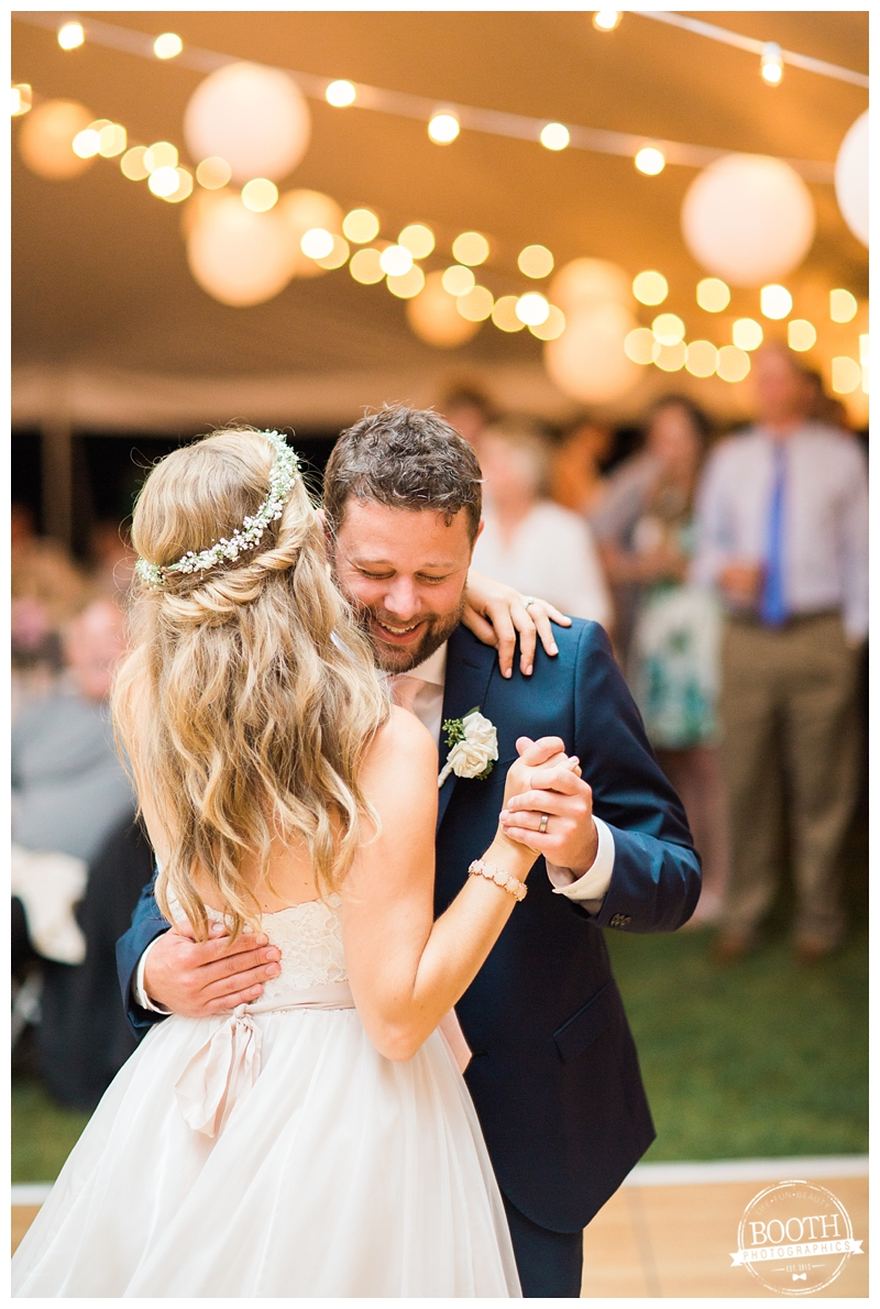 couple's first dance at an outdoor Wisconsin tent wedding