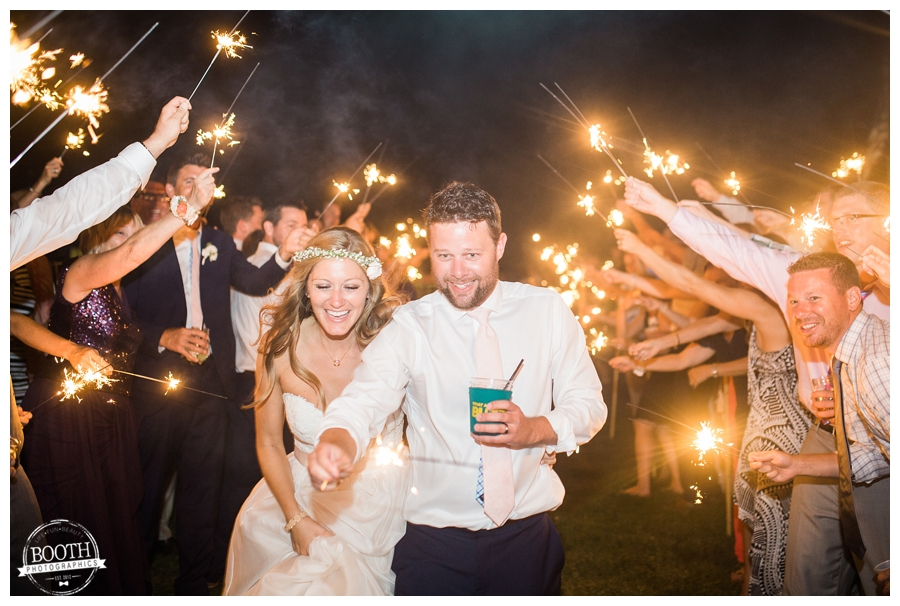 couple doing a sparkler exit at their wedding recpetion