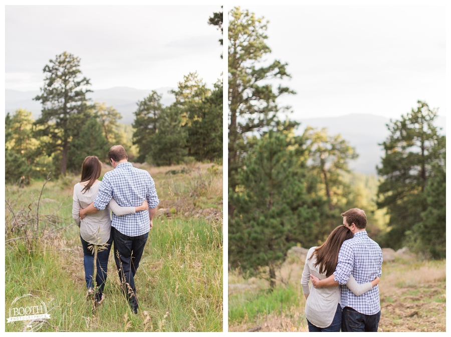 couple walking in the mountains at Genesee Mountain Park in Denver, Colorado