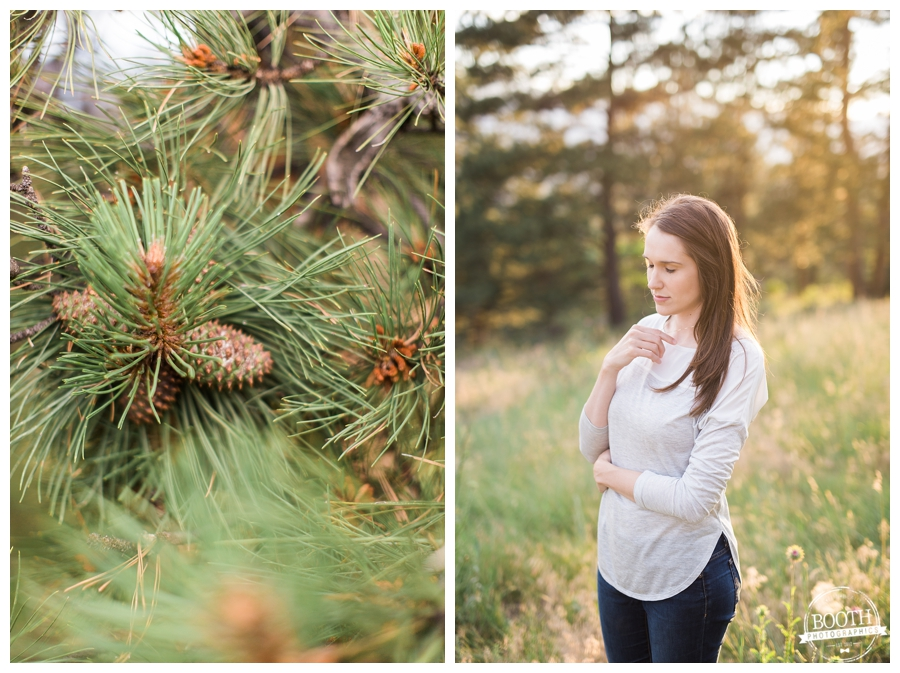 portrait of a woman in a meadow in a Colorado pine forest at Sunset
