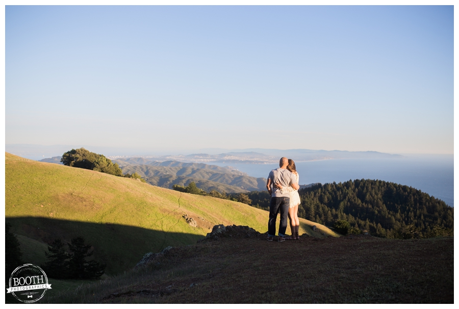 engaged couple hugging on Mt Tamalpais San Francisco