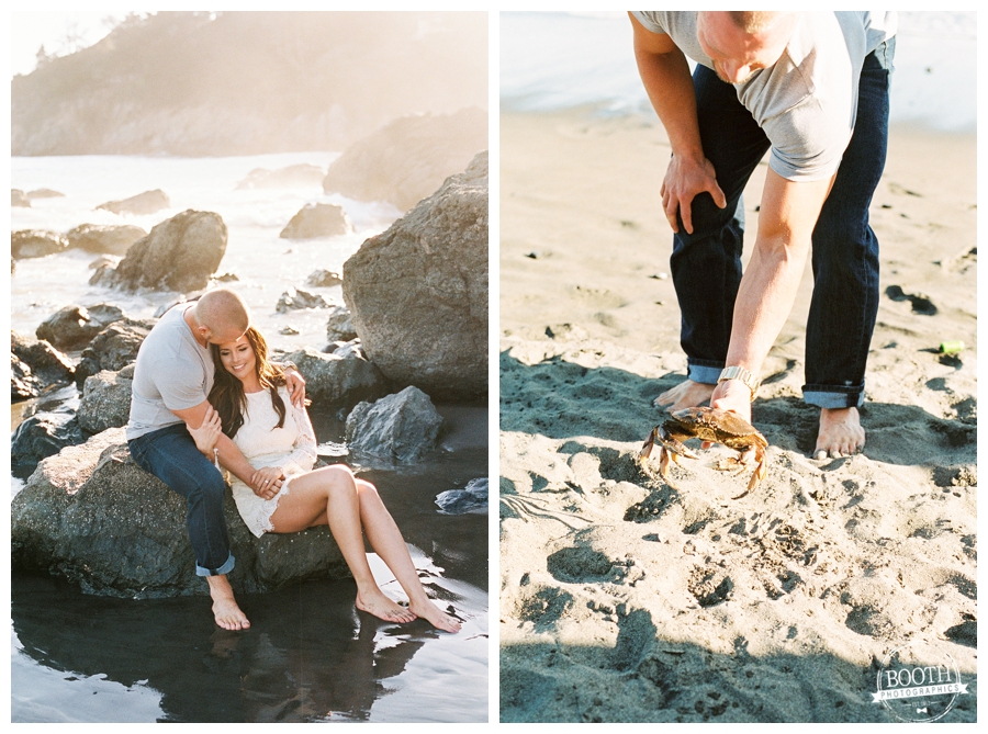 Couple sitting on the rocks at their San Francisco Muir Beach engagement session