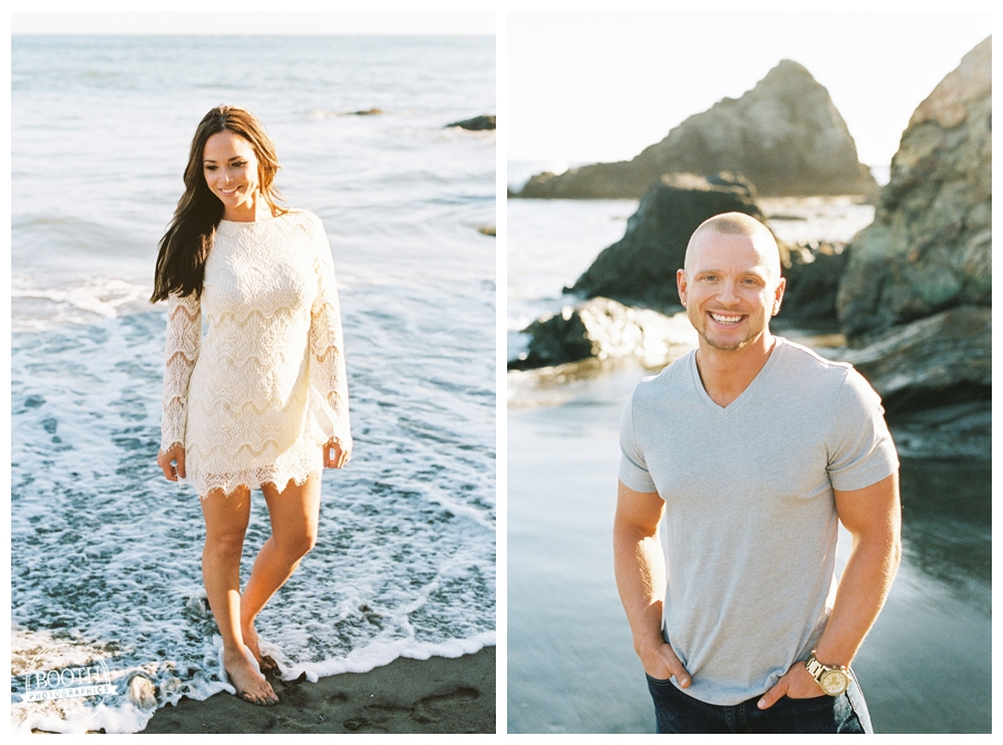 Couple standing in the pacific ocean during their San Francisco Muir Beach engagement session