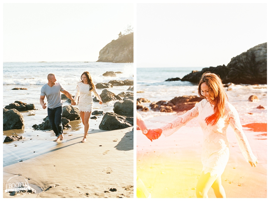 Couple running down the beach at their San Francisco Muir Beach engagement session
