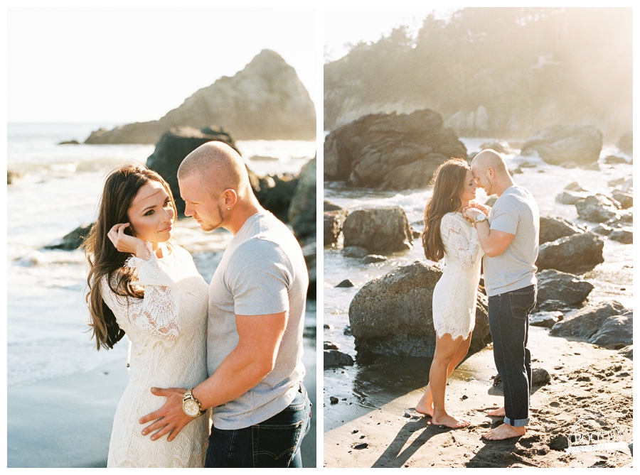 Couple standing on the sand at their San Francisco Muir Beach engagement session