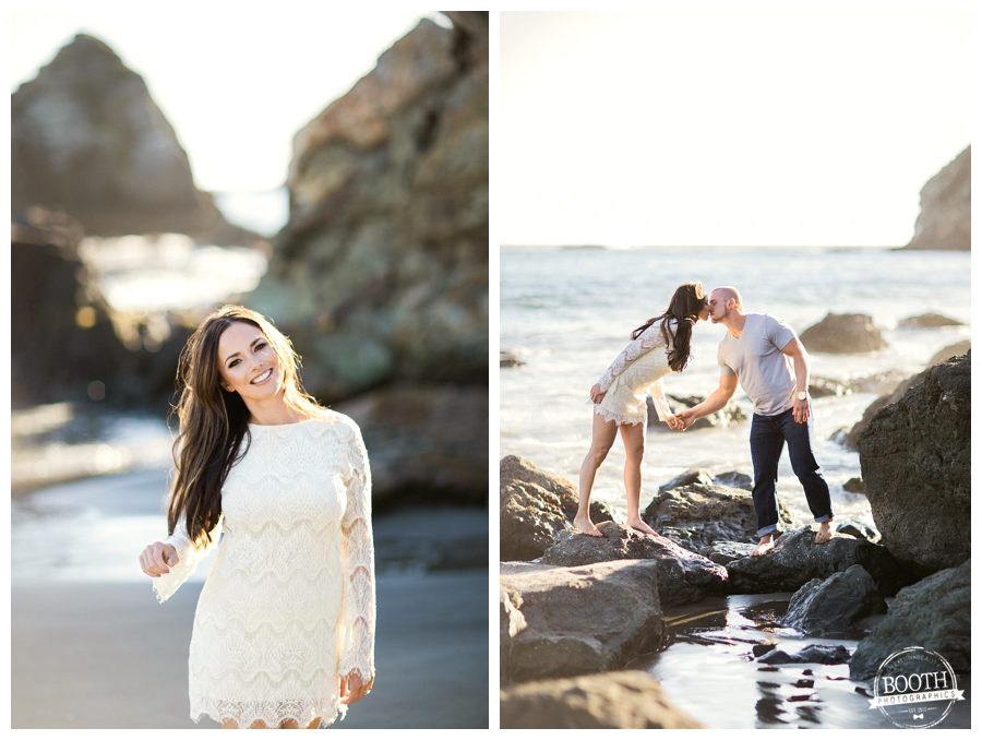 Couple kissing on the rocks in the pacific ocean during their San Francisco Muir Beach engagement session