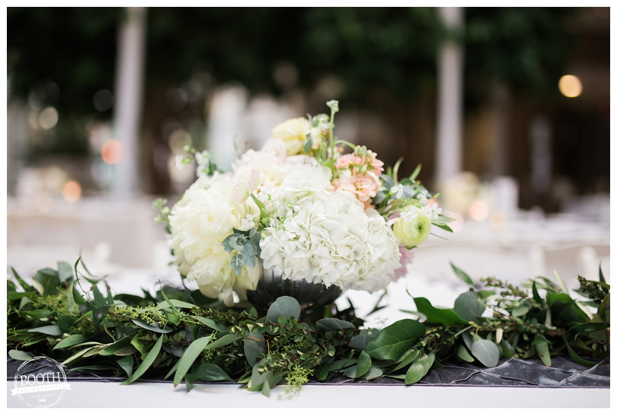 floral table garland at wedding by Alluring Blooms; fine art wedding photography by Booth Photographics, Madison, WI