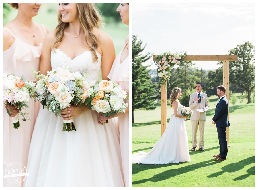 Bridal floral arrangements by Daffodil Parker at outdoor wedding; fine art wedding photography by Booth Photographics, Madison, WI