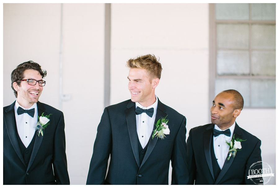 groomsmen walking to a wedding at the City View loft Chicago