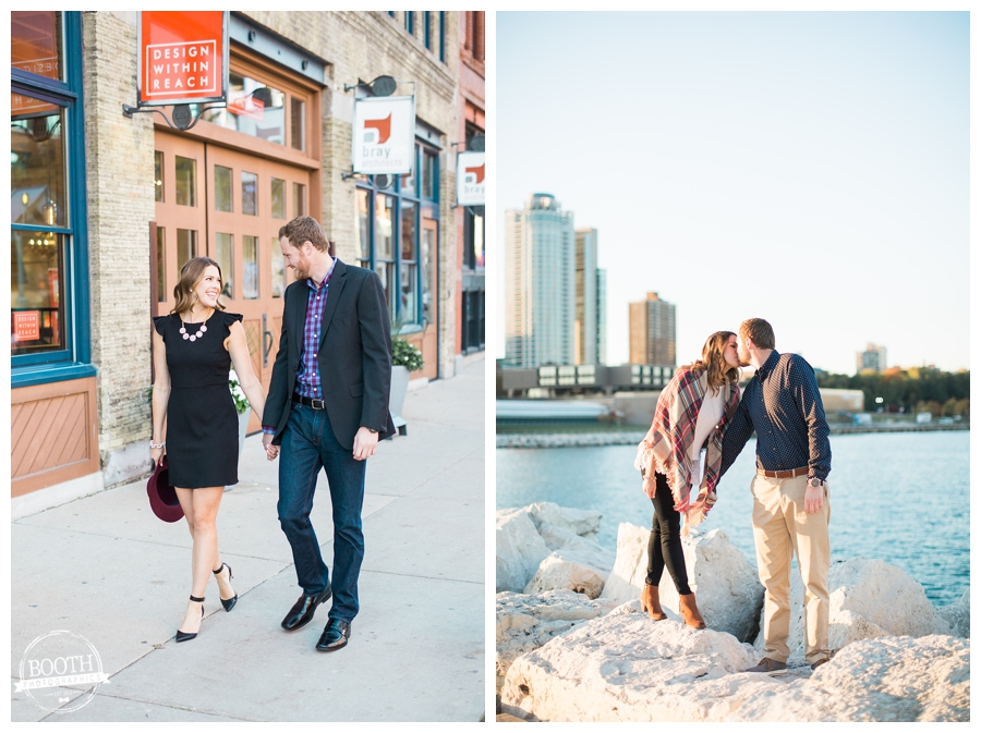 couple walking in Milwaukee's Historic Third Ward and kissing on the rocks of the Milwaukee Lakefrotn