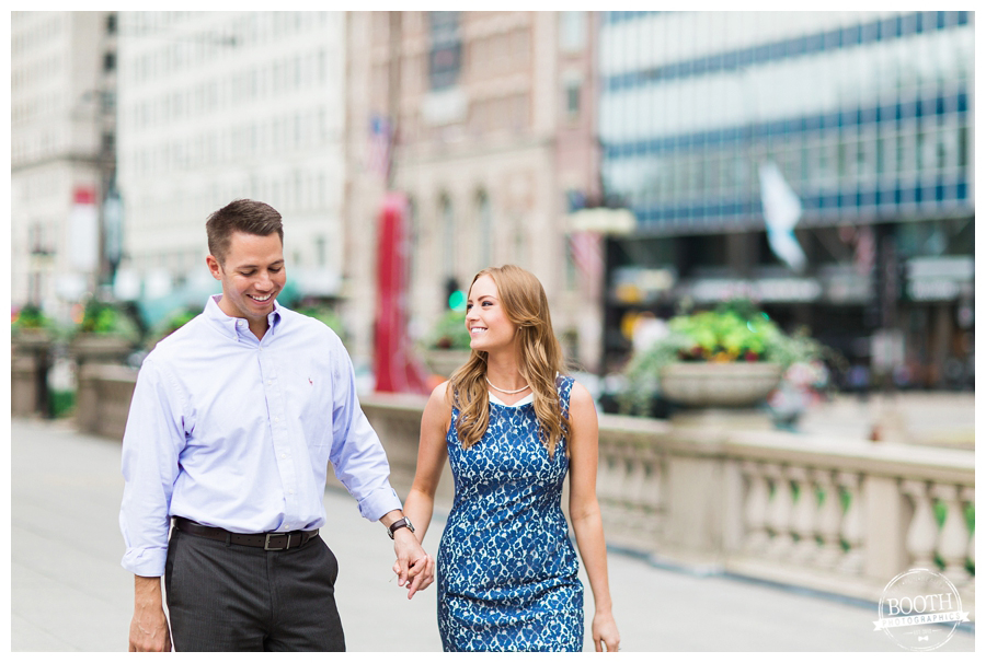 Fine Art engagement photos of a couple walking together on Michigan Avenue in Chicago