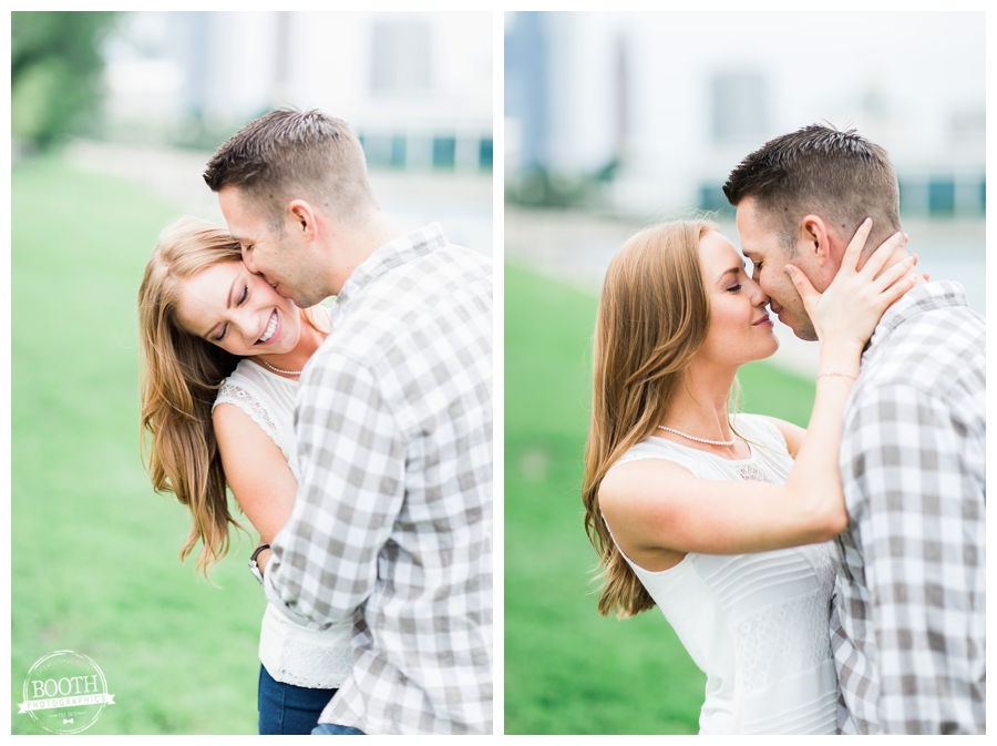 Engagement photography of a couple kissing and having fun in Chicago