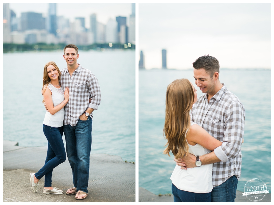 cute couple embracing on northerly island with the Chicago city skyline behind them