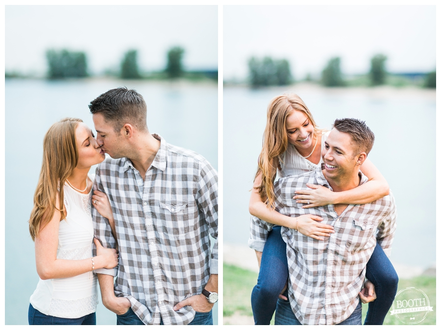 engagement photos in Chicago of a guy giving his fiance a piggy back ride