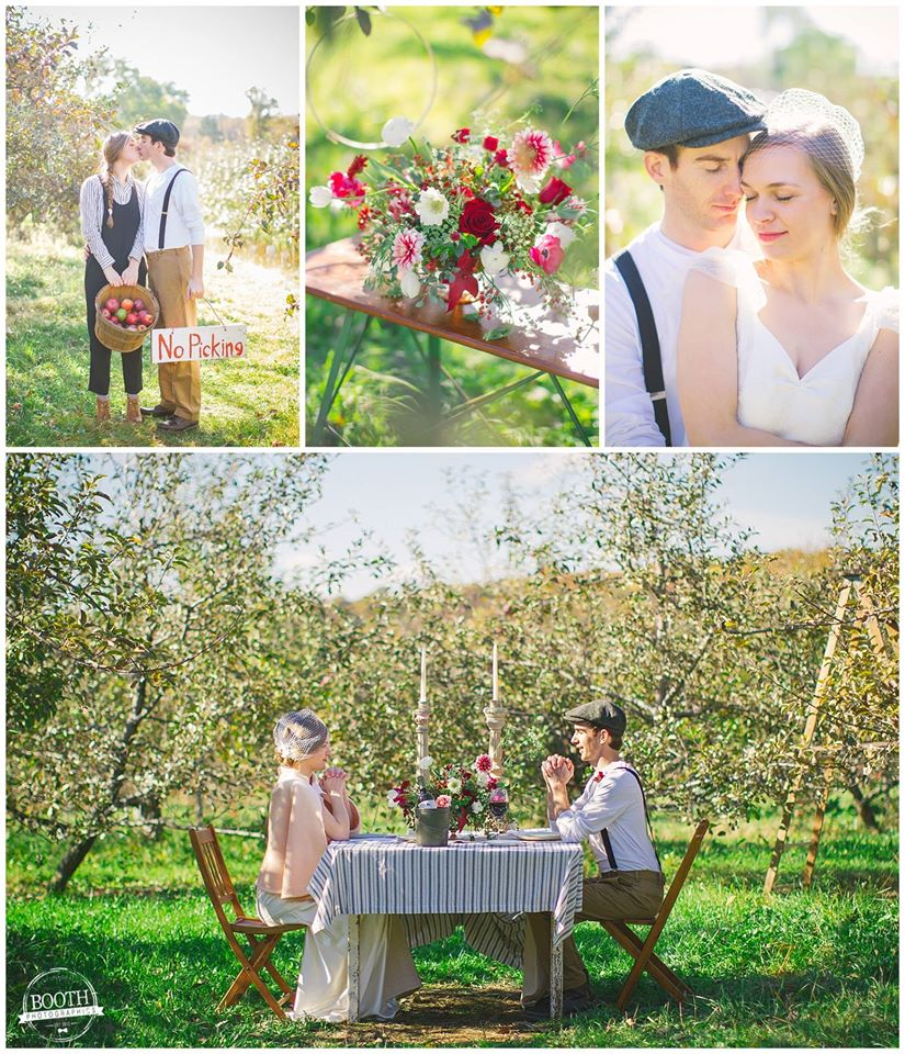 collage of photos from the Booth Photographics Great Depression Orchard Elopement featured on Green Wedding Shoes