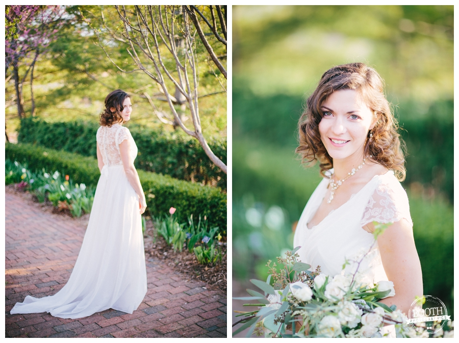 beautiful bride at her casual English inspired wedding in Madison, WI