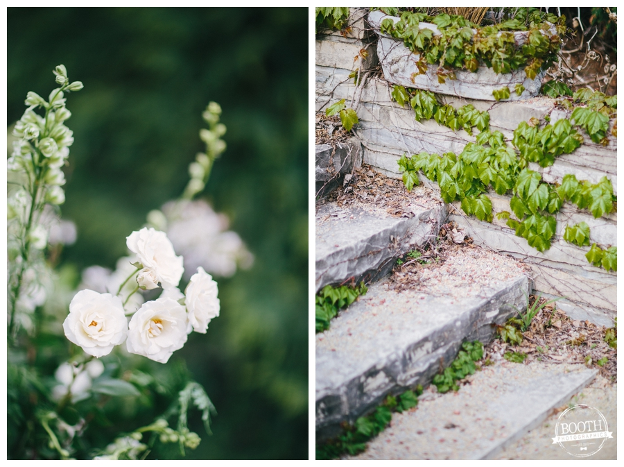 florals and stone stairs at Allen Centennial Garden Wedding in Madison