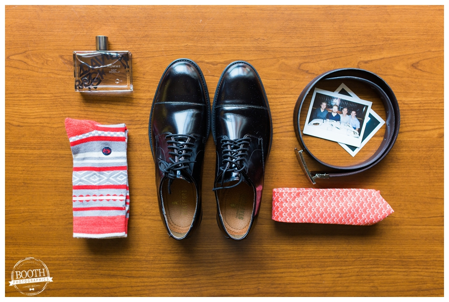 styled groom's shoes, socks, cologne, and tie