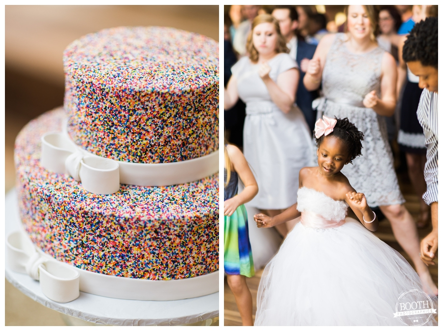 sprinkle covered wedding cake