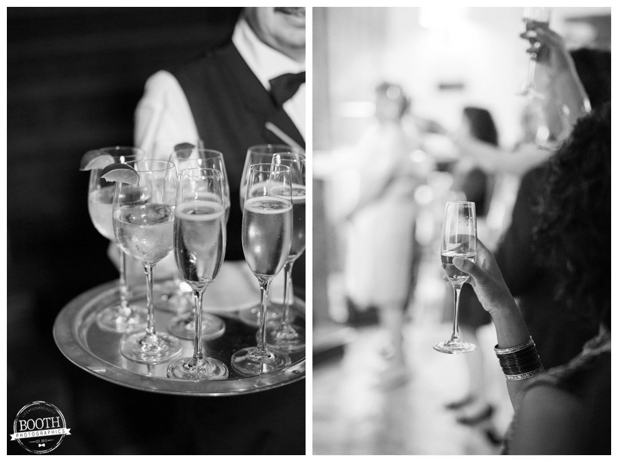champagne toast at a wedding ceremony at the hall of lions in the Hotel InterContinental Chicago
