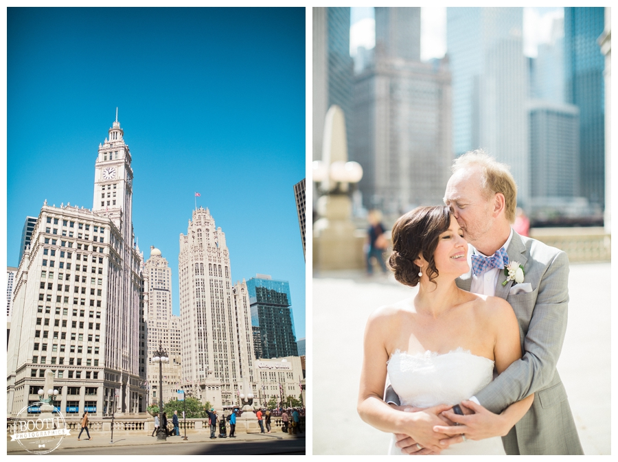 Couple enjoying Chicago at their downtown wedding