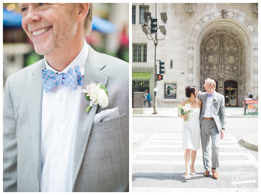 bride and groom crossing Michigan Avenue at their downtown Chicago wedding