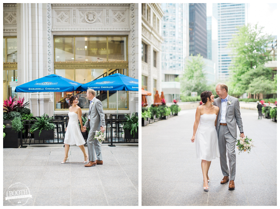 couple walking through the Tribune Tower together at their downtown Chicago wedding