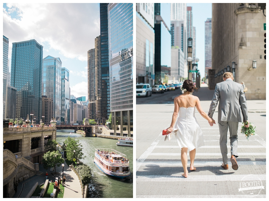 couple walking through downtown Chicago after their downtown wedding ceremony