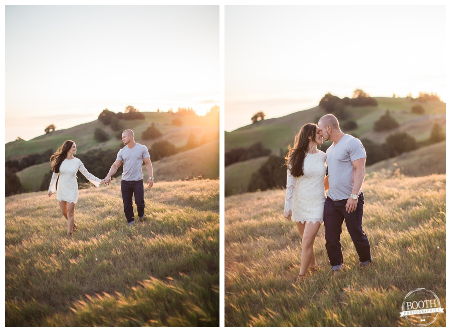 lifestyle engagement photo of a couple walking on Bolinas Ridge at Mt Tamalpais at sunset