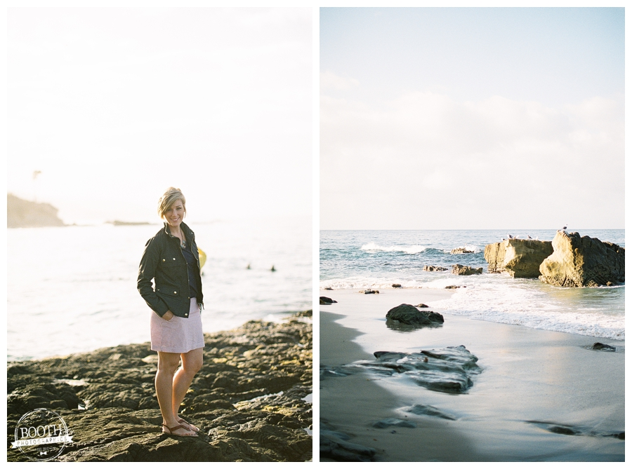 Stephanie walking along the beach in Heisler Park in Laguna Beach