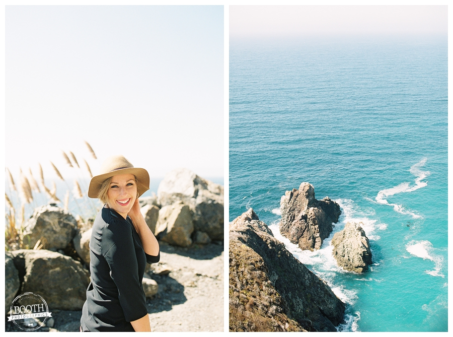 Stephanie and the cliffs along the edge of the Pacific Ocean in Big Sur, CA