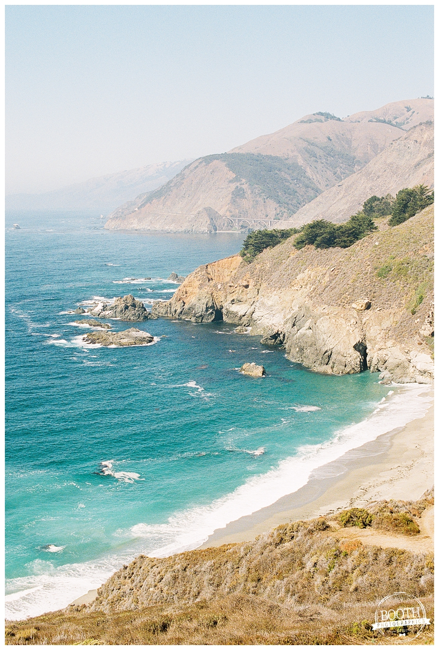 Beach and cliffs along the edge of the Pacific Ocean in Big Sur, California