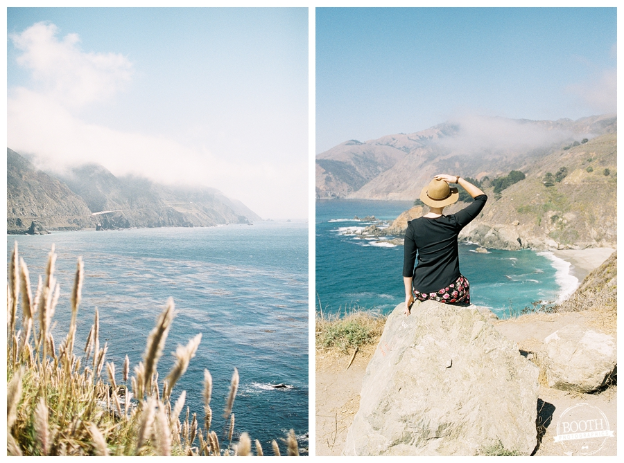 Stephanie sitting on a rock overlooking the the Pacific Ocean in Big Sur, California
