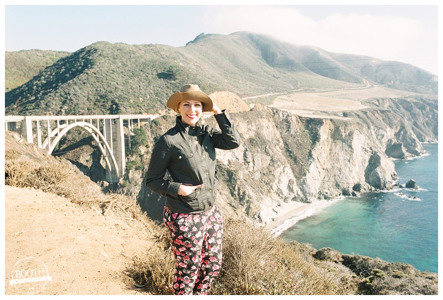 Stephanie at Bixby Bridge in Big SUr, CA