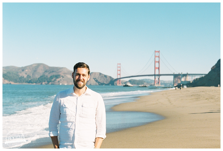 Stephen walking on Baker Beach near the Golden Gate Bridge in San Francisco, CA