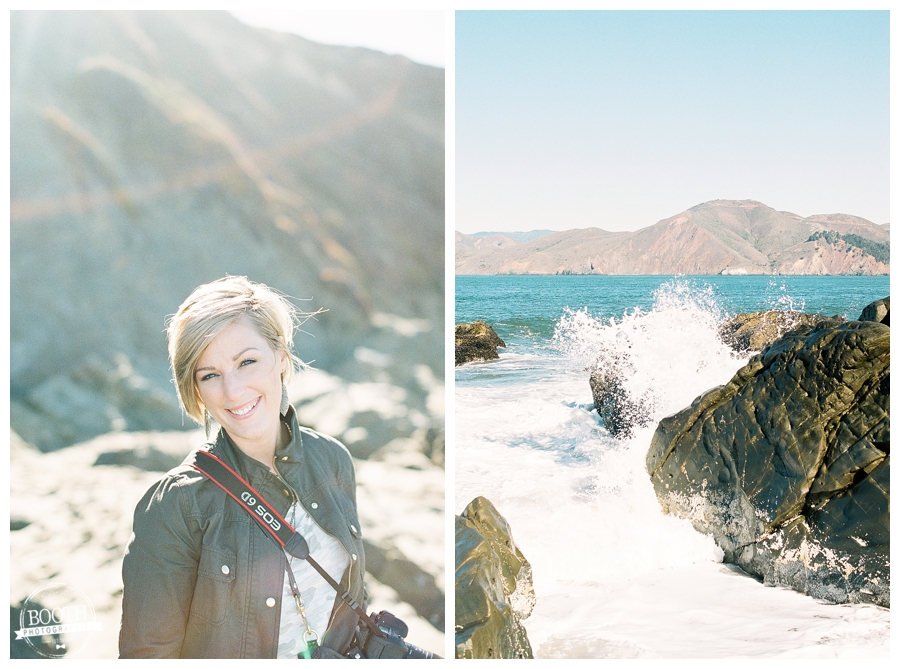 Stephanie on Baker Beach near the Golden Gate Bridge in San Francisco, CA