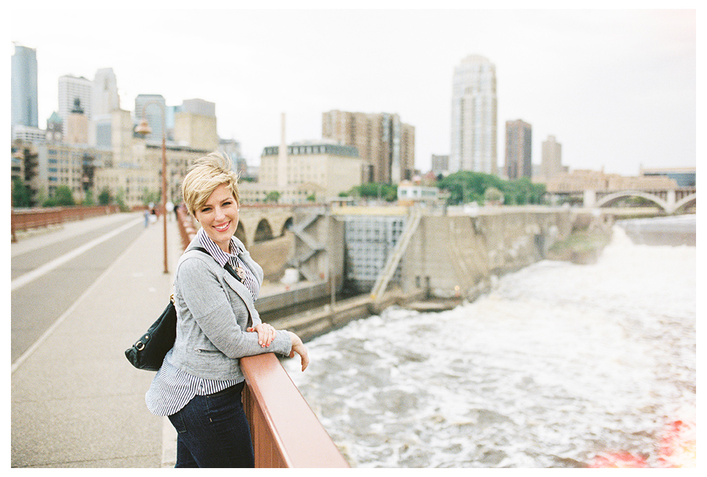 Stephanie on Stone Arch Bridge at the Mississippi River in Minneapolis