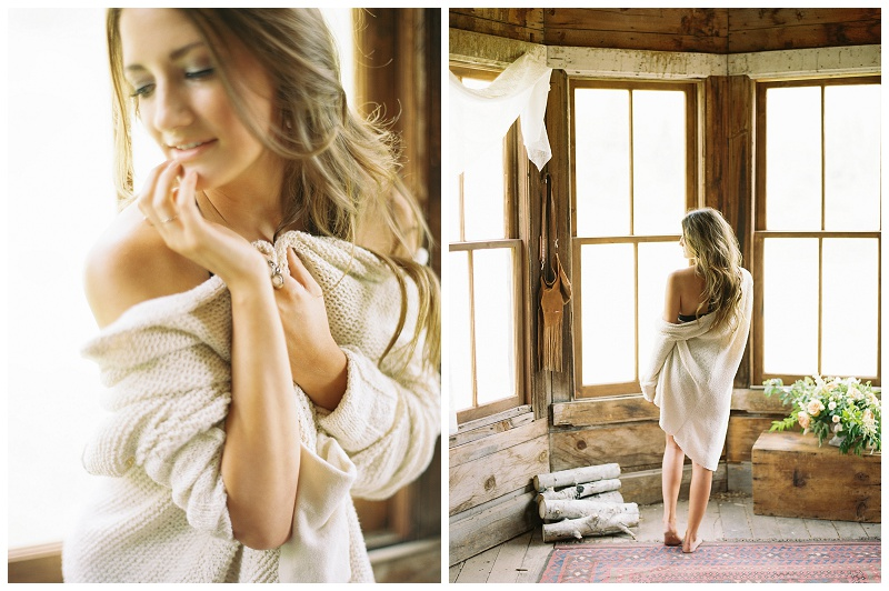 girl in lingerie and sweater walking in a mountain cabin photographed by Booth Photographics, fine art wedding photography