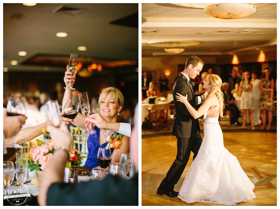 Bride and groom toasting and dancing at their wedding in Waukesha at the Legend at Merrill Hills country club