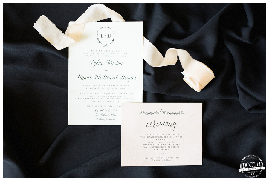 classic stationery with frou frou chic ribbon
