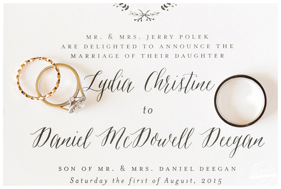wedding rings on classic stationery
