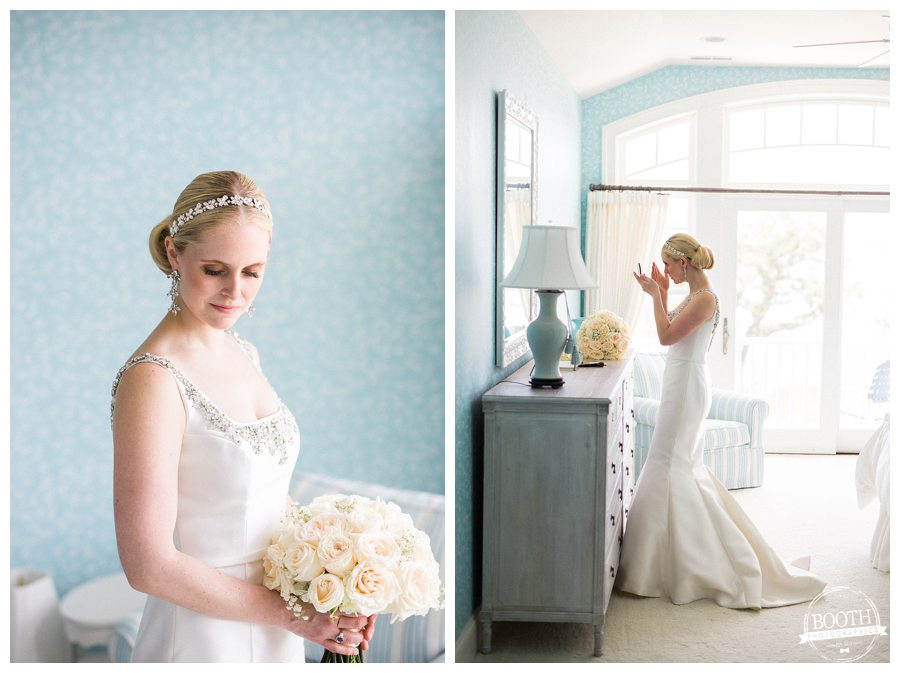 beautiful bride getting ready for her Lake Geneva private estate wedding