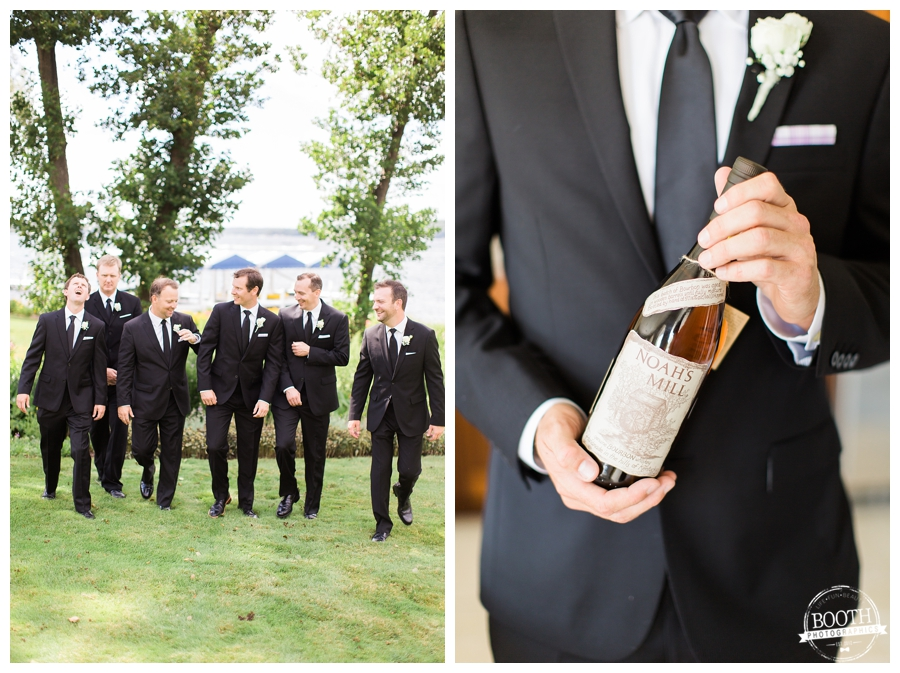 groomsmen toasting a hand crafted bourbon at a Lake Geneva Private estate wedding