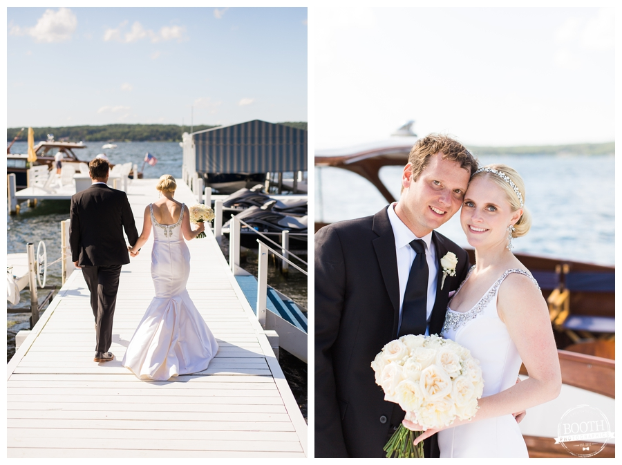 bride and groom walking on the dock at Lake Geneva at their private estate wedding