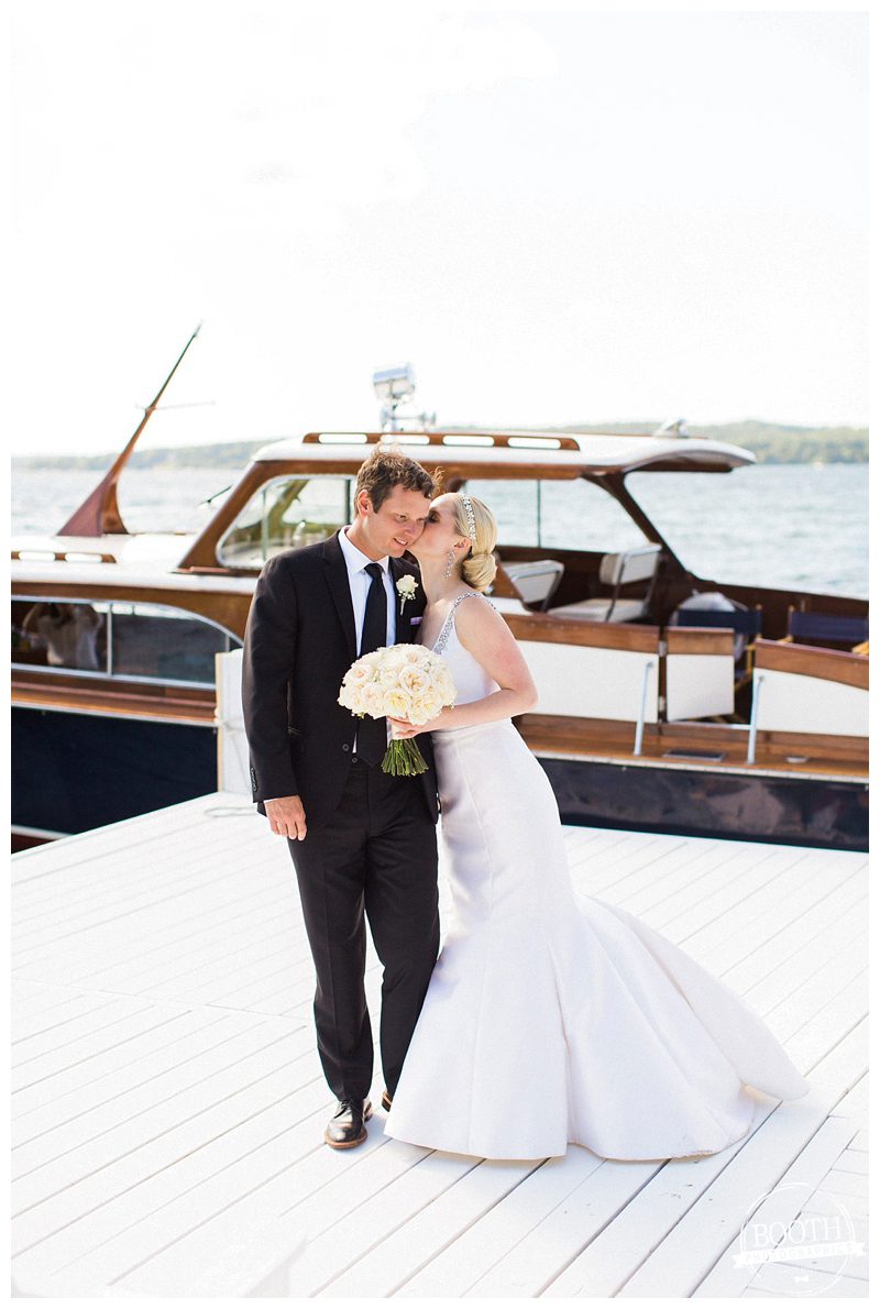 couple dancing on the dock at their Lake Geneva wedding