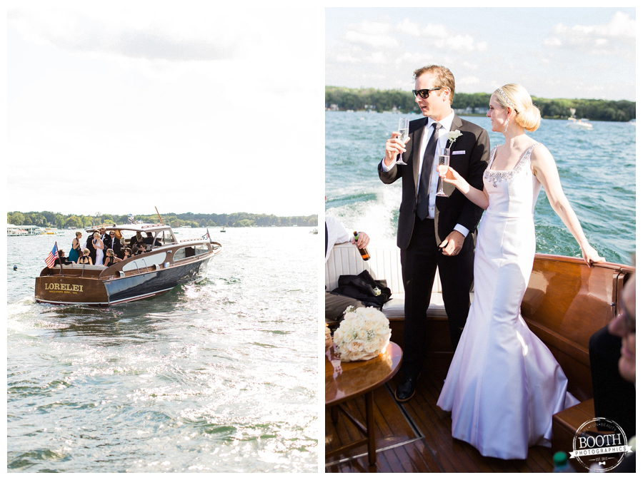 couple enjoying their wedding day on a vintage boat