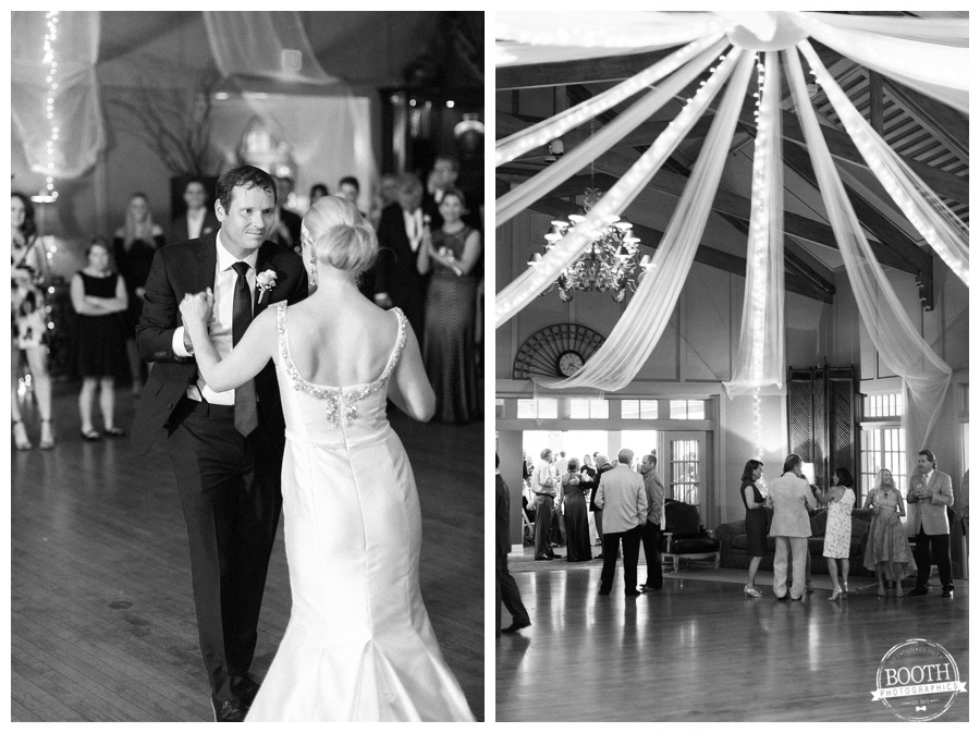couple enjoying their first dance at the Big Foot country club in Lake Geneva, WI