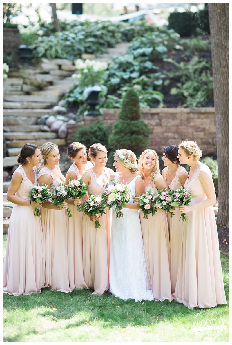 bridesmaids enjoying the wedding day at a private estate wedding in Milwaukee